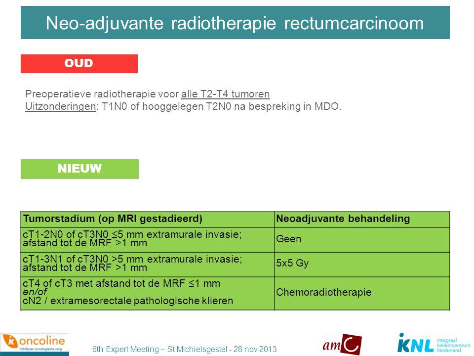 Neo-adjuvante radiotherapie rectumcarcinoom