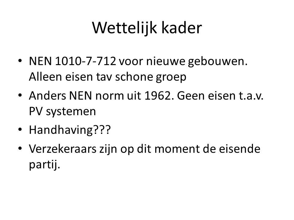 Wettelijk kader NEN 1010-7-712 voor nieuwe gebouwen. Alleen eisen tav schone groep. Anders NEN norm uit 1962. Geen eisen t.a.v. PV systemen.