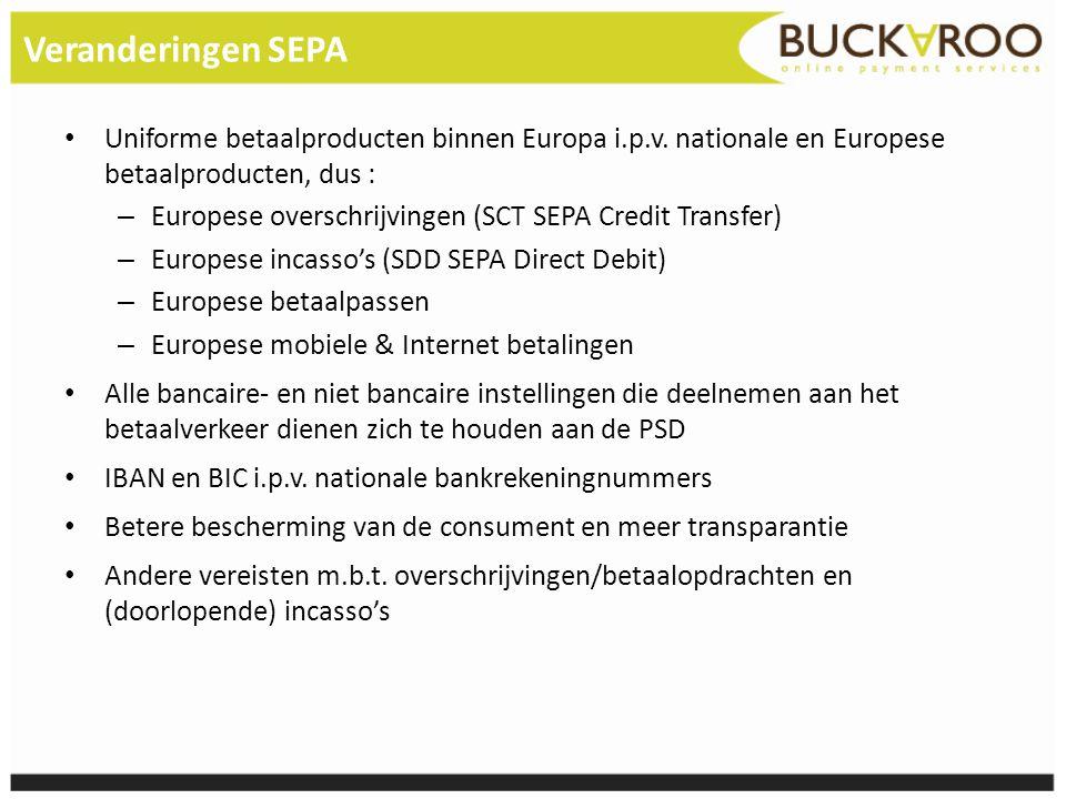 Veranderingen SEPA Uniforme betaalproducten binnen Europa i.p.v. nationale en Europese betaalproducten, dus :