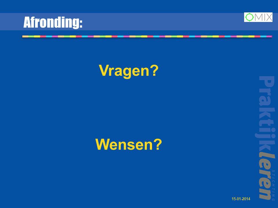 Afronding: Vragen Wensen 15-01-2014