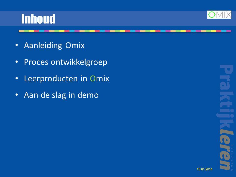 Inhoud Aanleiding Omix Proces ontwikkelgroep Leerproducten in Omix