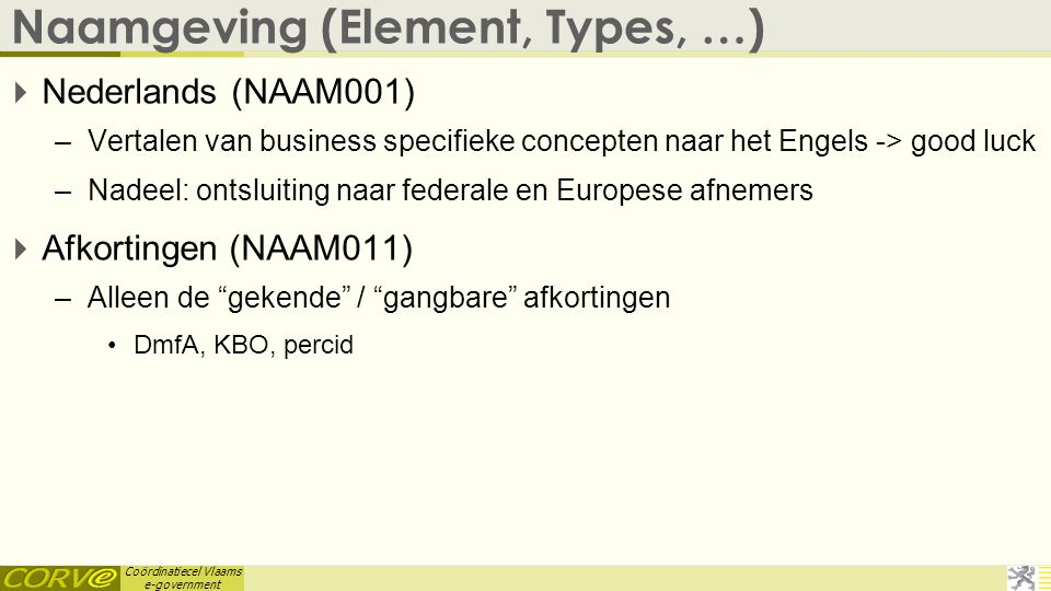 Naamgeving (Element, Types, …)