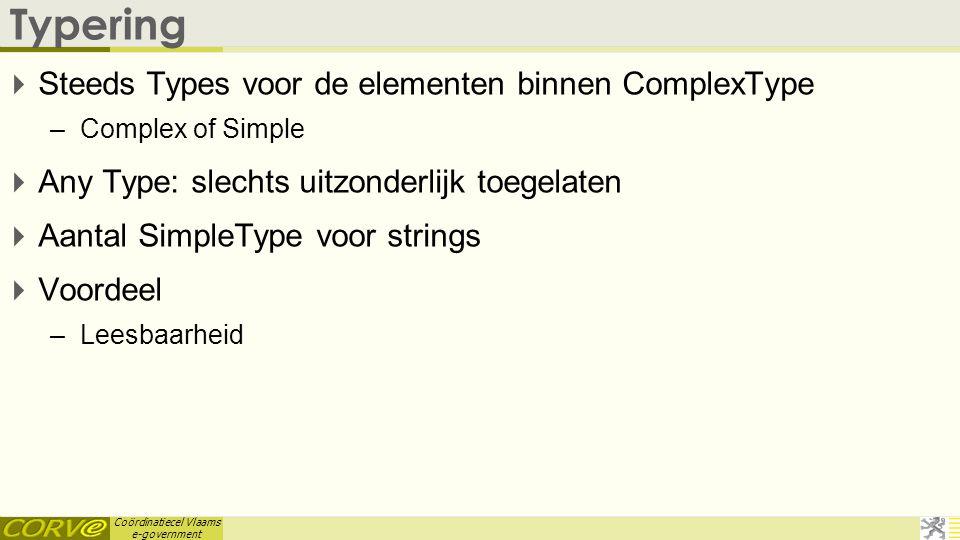 Typering Steeds Types voor de elementen binnen ComplexType