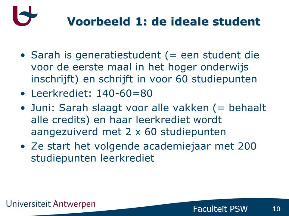 Voorbeeld 2: de minder ideale student