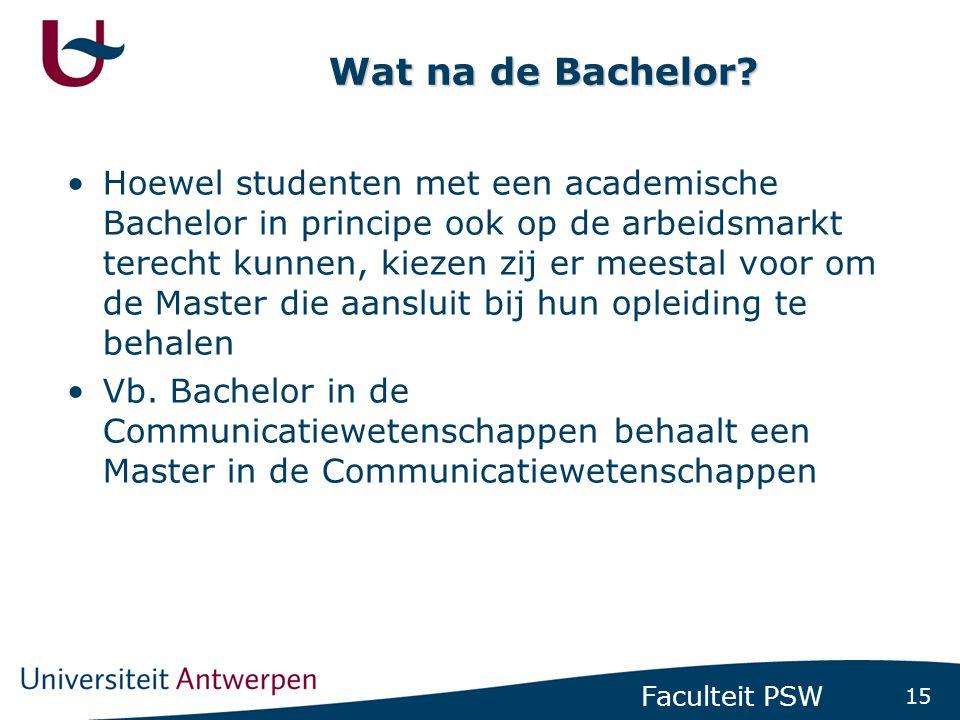 Studenten met een professionele bachelor kunnen meteen op de arbeidsmarkt terecht maar ze kunnen er eventueel ook voor opteren om een Masterdiploma te behalen.
