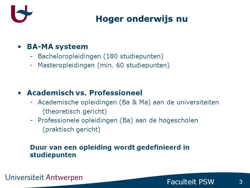 Studiepunten Bacheloropleiding telt 180 studiepunten (3 x 60 ptn), die worden toegekend aan opleidingsonderdelen ('vakken')