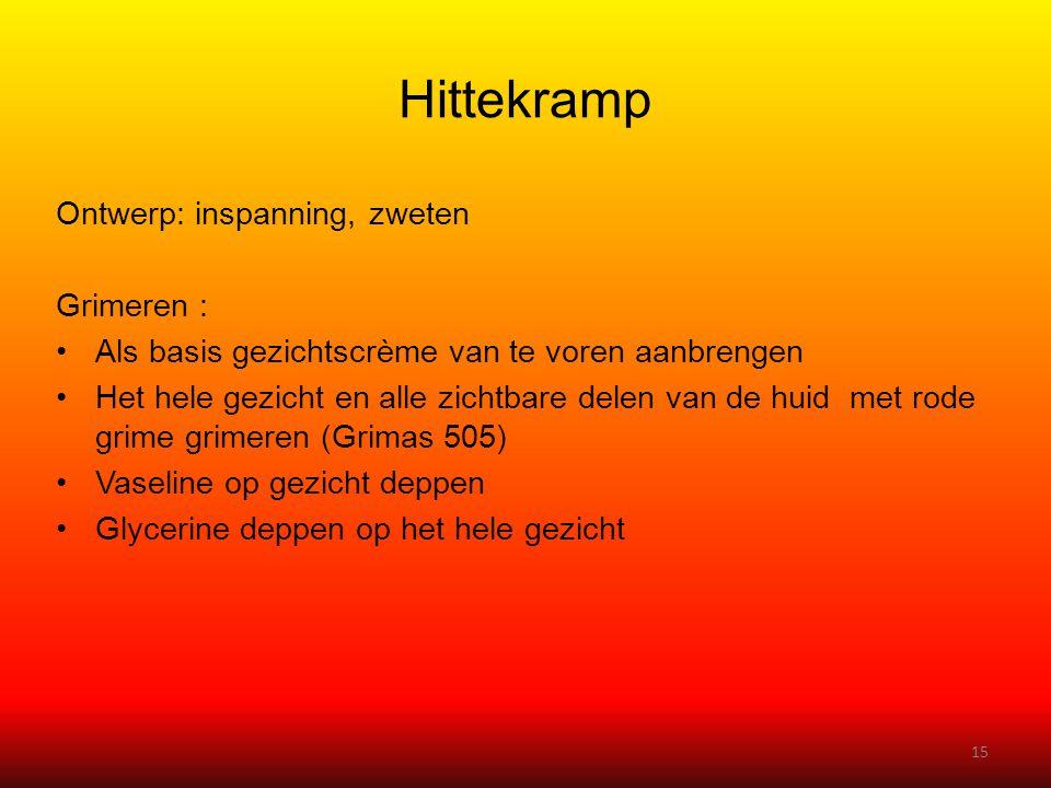 Hittekramp Ontwerp: inspanning, zweten Grimeren :