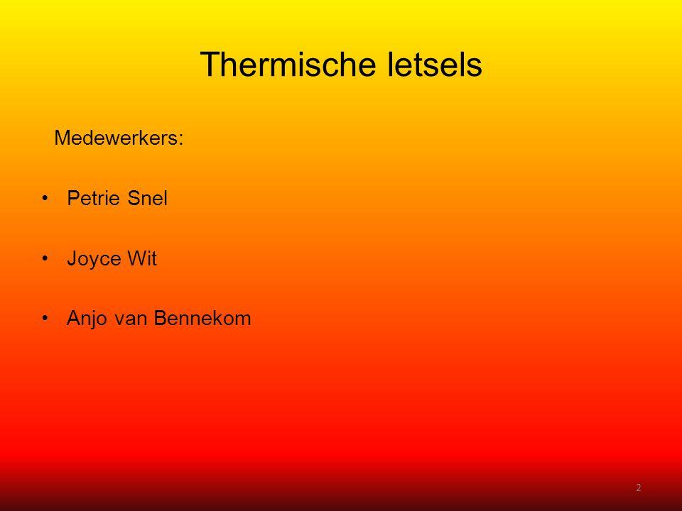 Thermische letsels Medewerkers: Petrie Snel Joyce Wit