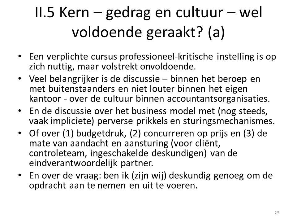 II.5 Kern – gedrag en cultuur – wel voldoende geraakt (a)