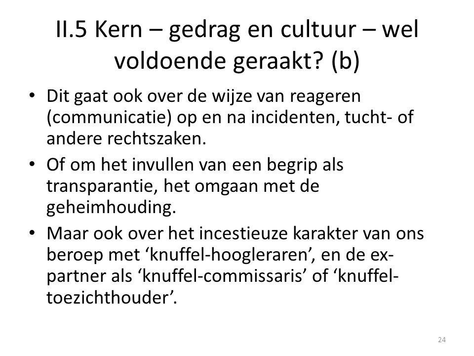 II.5 Kern – gedrag en cultuur – wel voldoende geraakt (b)