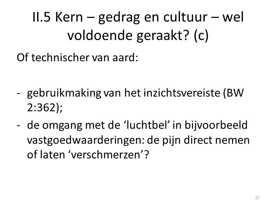 II.5 Kern – gedrag en cultuur – wel voldoende geraakt (c)