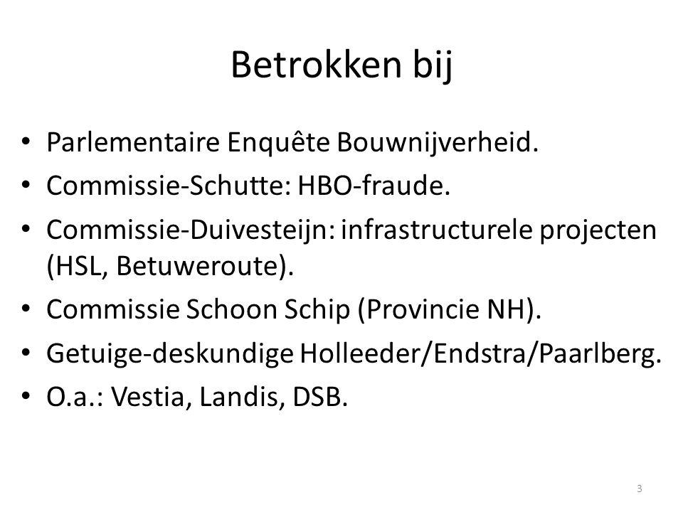 Betrokken bij Parlementaire Enquête Bouwnijverheid.