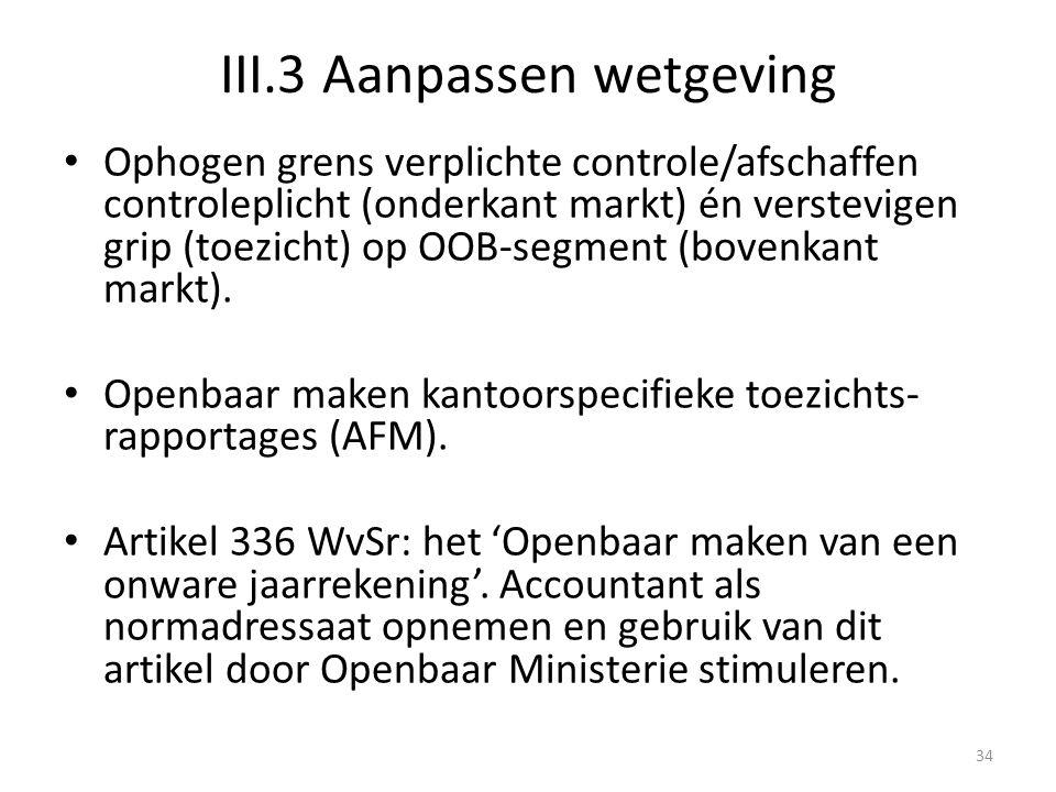III.3 Aanpassen wetgeving