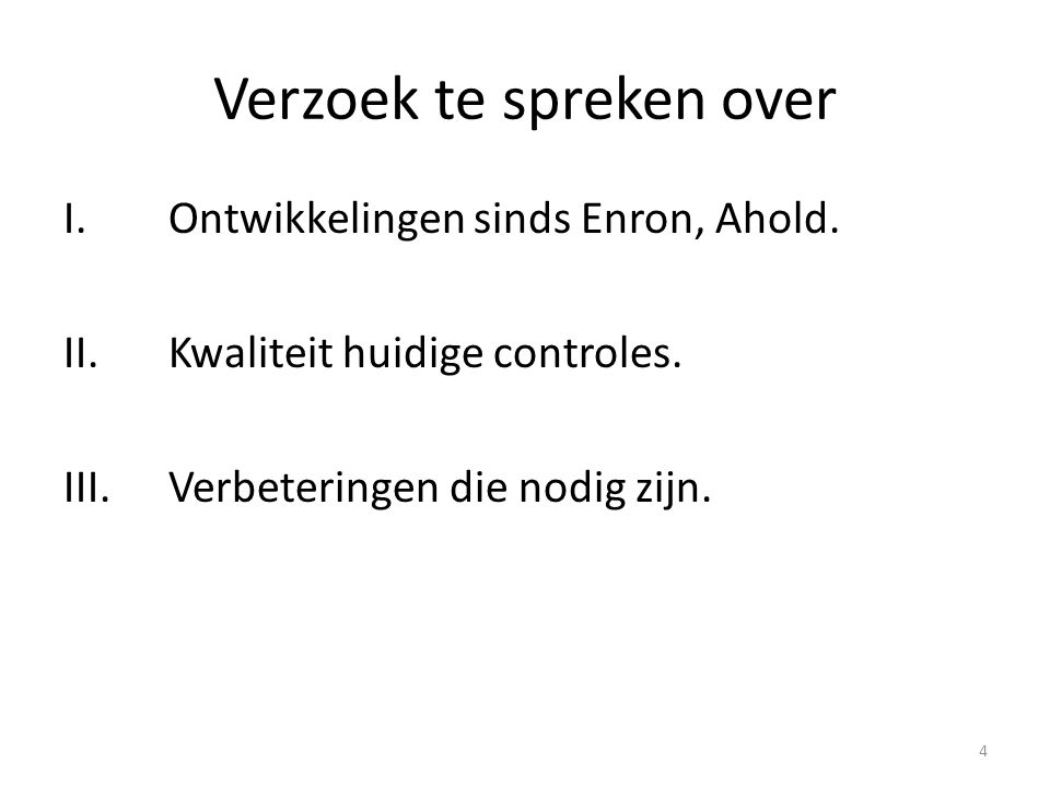 Verzoek te spreken over
