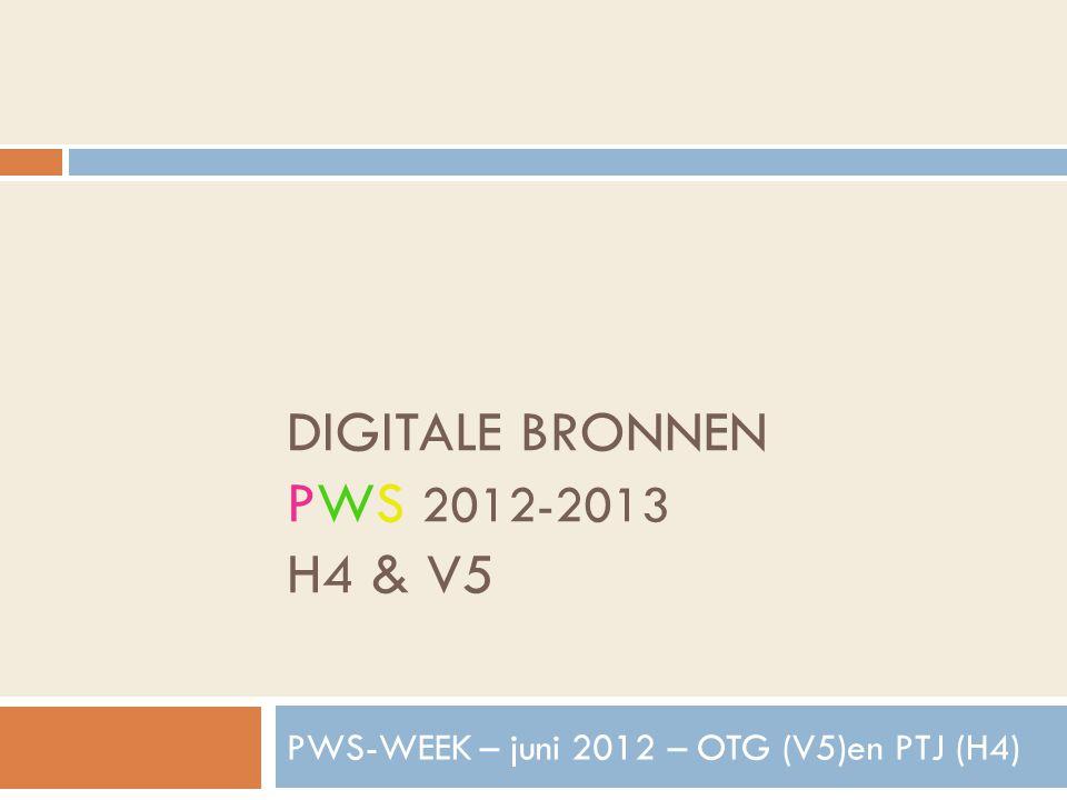 DIGITALE BRONNEN PWS 2012-2013 H4 & V5