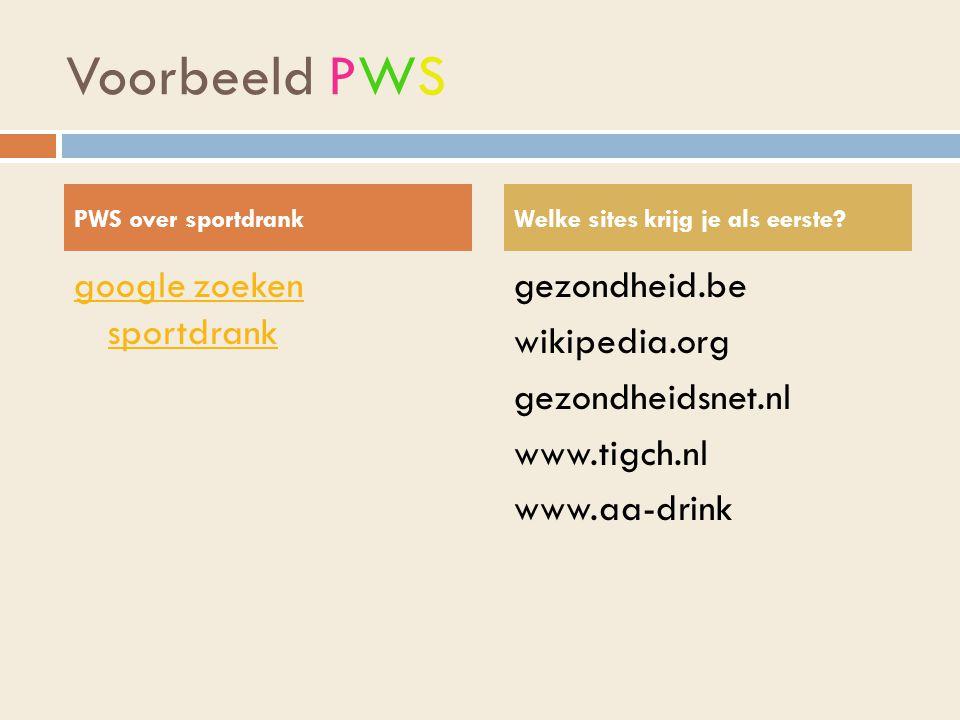 Voorbeeld PWS google zoeken sportdrank
