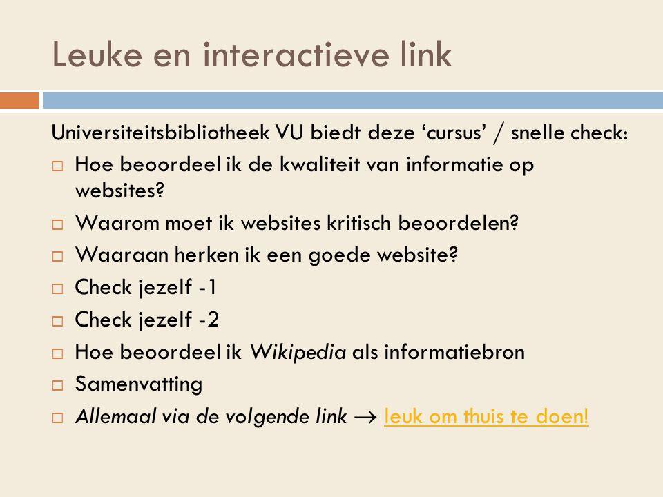Leuke en interactieve link