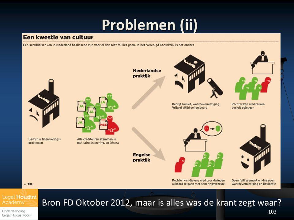 Problemen (ii) Bron FD Oktober 2012, maar is alles was de krant zegt waar