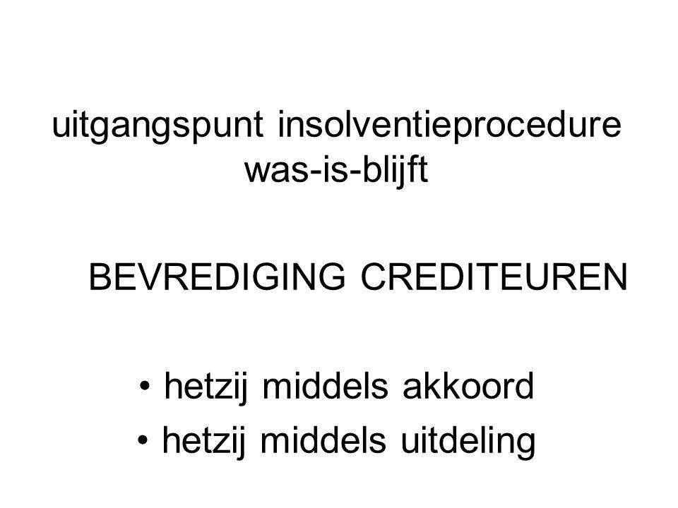 uitgangspunt insolventieprocedure was-is-blijft
