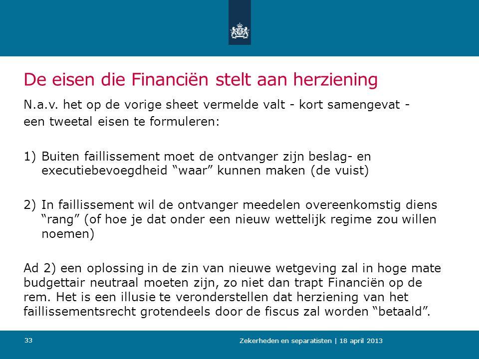 De eisen die Financiën stelt aan herziening