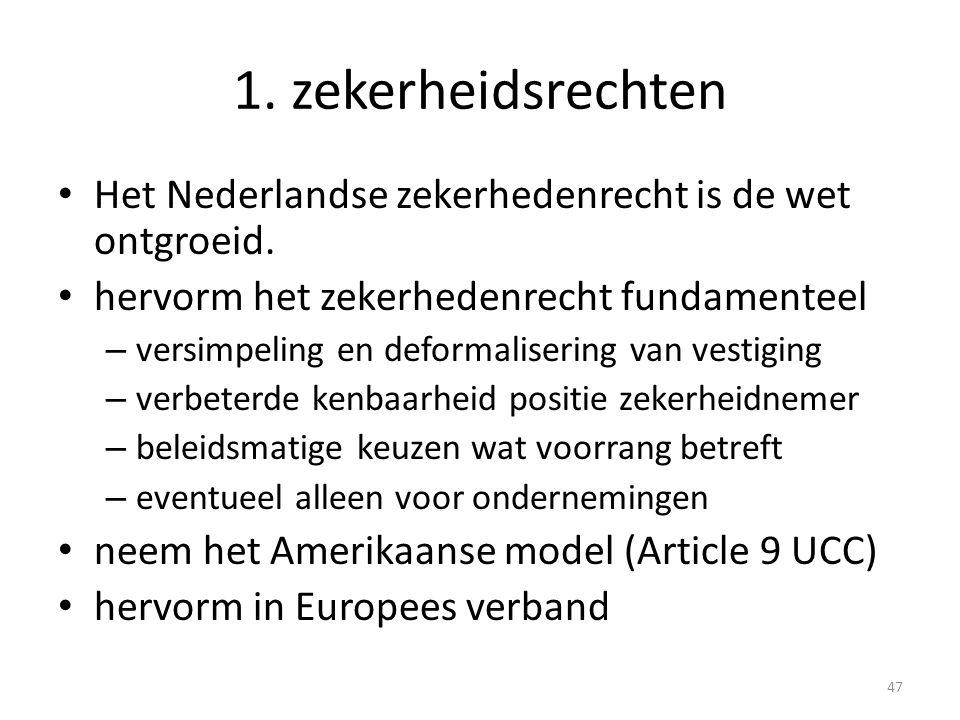 1. zekerheidsrechten Het Nederlandse zekerhedenrecht is de wet ontgroeid. hervorm het zekerhedenrecht fundamenteel.