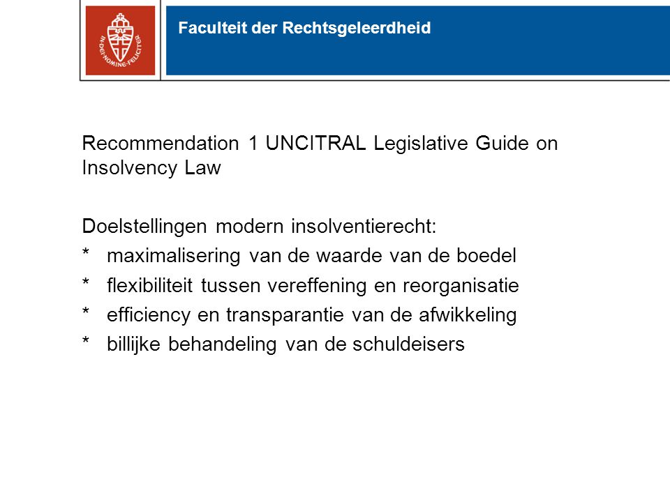 Recommendation 1 UNCITRAL Legislative Guide on Insolvency Law