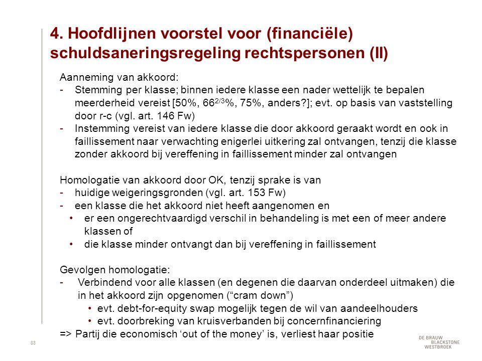 4. Hoofdlijnen voorstel voor (financiële) schuldsaneringsregeling rechtspersonen (II)