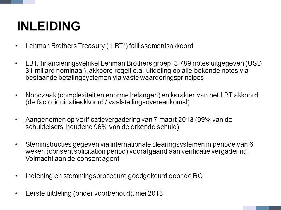 INLEIDING Lehman Brothers Treasury ( LBT ) faillissementsakkoord