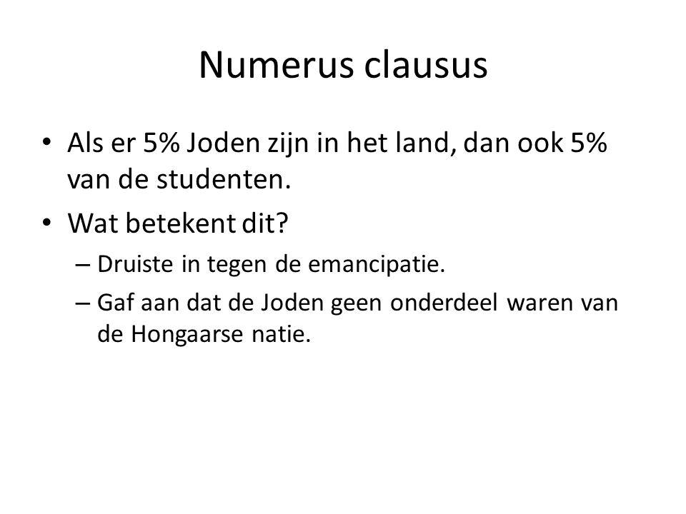 Numerus clausus Als er 5% Joden zijn in het land, dan ook 5% van de studenten. Wat betekent dit Druiste in tegen de emancipatie.