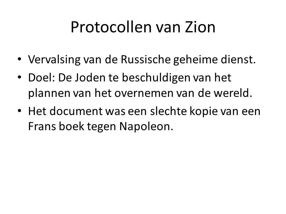 Protocollen van Zion Vervalsing van de Russische geheime dienst.