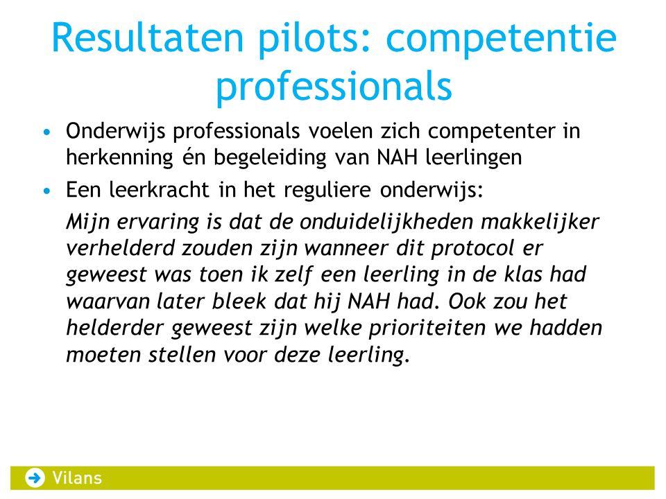 Resultaten pilots: competentie professionals