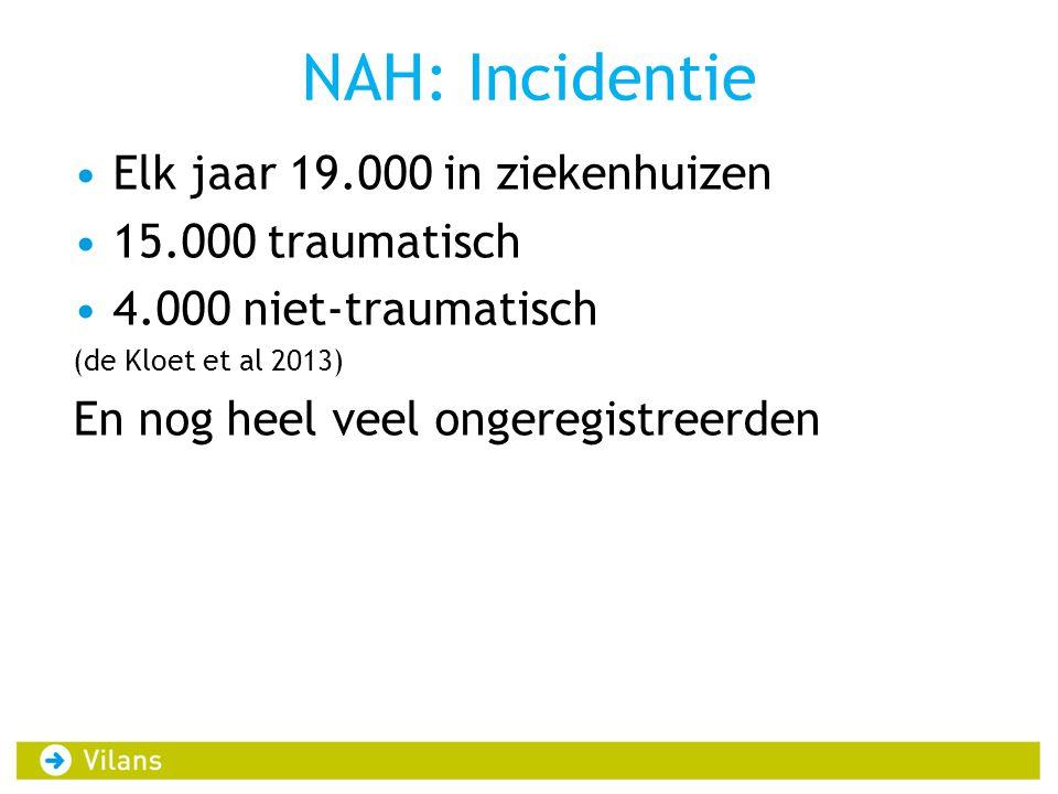 NAH: Incidentie Elk jaar 19.000 in ziekenhuizen 15.000 traumatisch