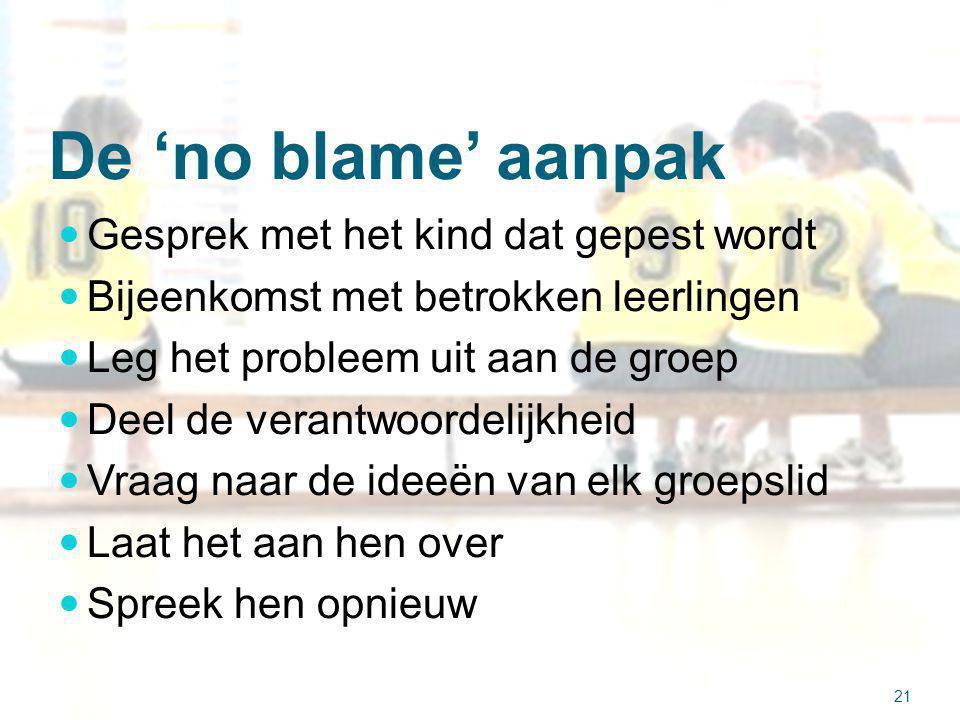 De 'no blame' aanpak Gesprek met het kind dat gepest wordt