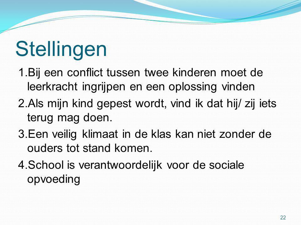 Stellingen 1.Bij een conflict tussen twee kinderen moet de leerkracht ingrijpen en een oplossing vinden.