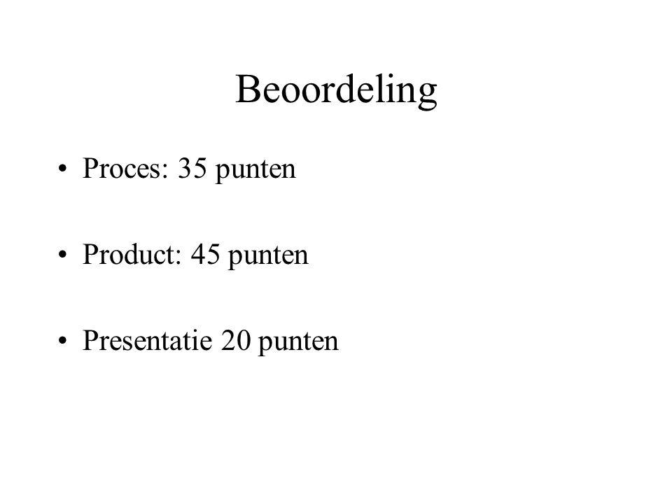 Beoordeling Proces: 35 punten Product: 45 punten Presentatie 20 punten