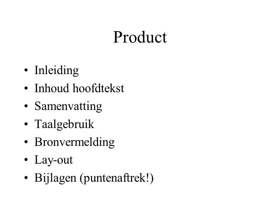 Product Inleiding Inhoud hoofdtekst Samenvatting Taalgebruik