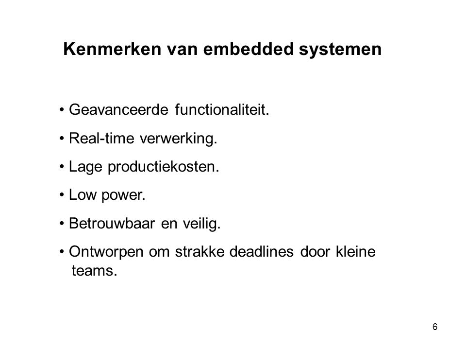 Kenmerken van embedded systemen