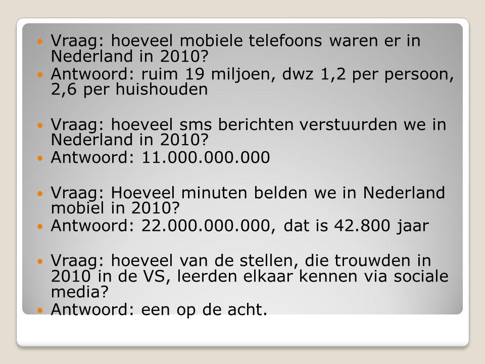 Vraag: hoeveel mobiele telefoons waren er in Nederland in 2010