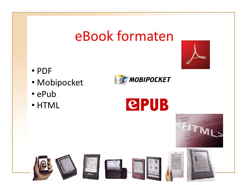 eBook formaten PDF Mobipocket ePub HTML