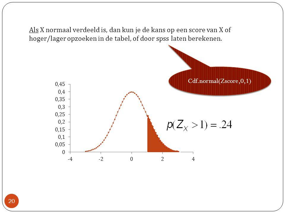 Als X normaal verdeeld is, dan kun je de kans op een score van X of hoger/lager opzoeken in de tabel, of door spss laten berekenen.