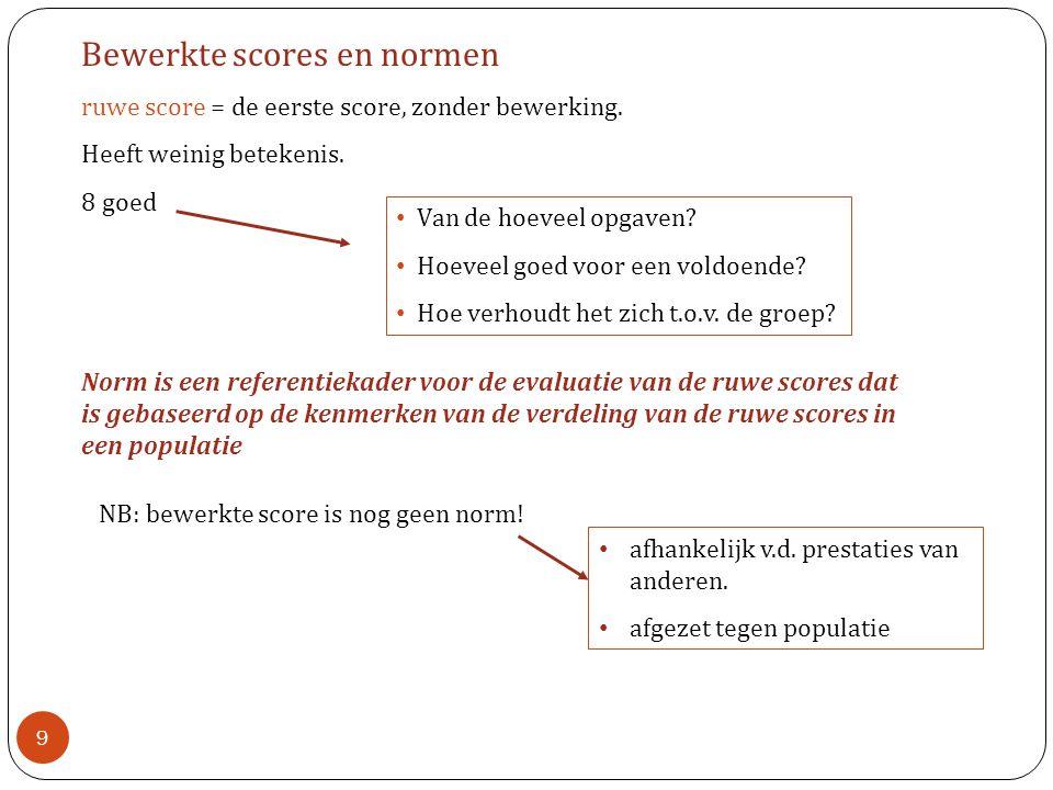 Bewerkte scores en normen