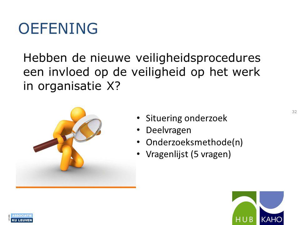 OEFENING Hebben de nieuwe veiligheidsprocedures een invloed op de veiligheid op het werk in organisatie X