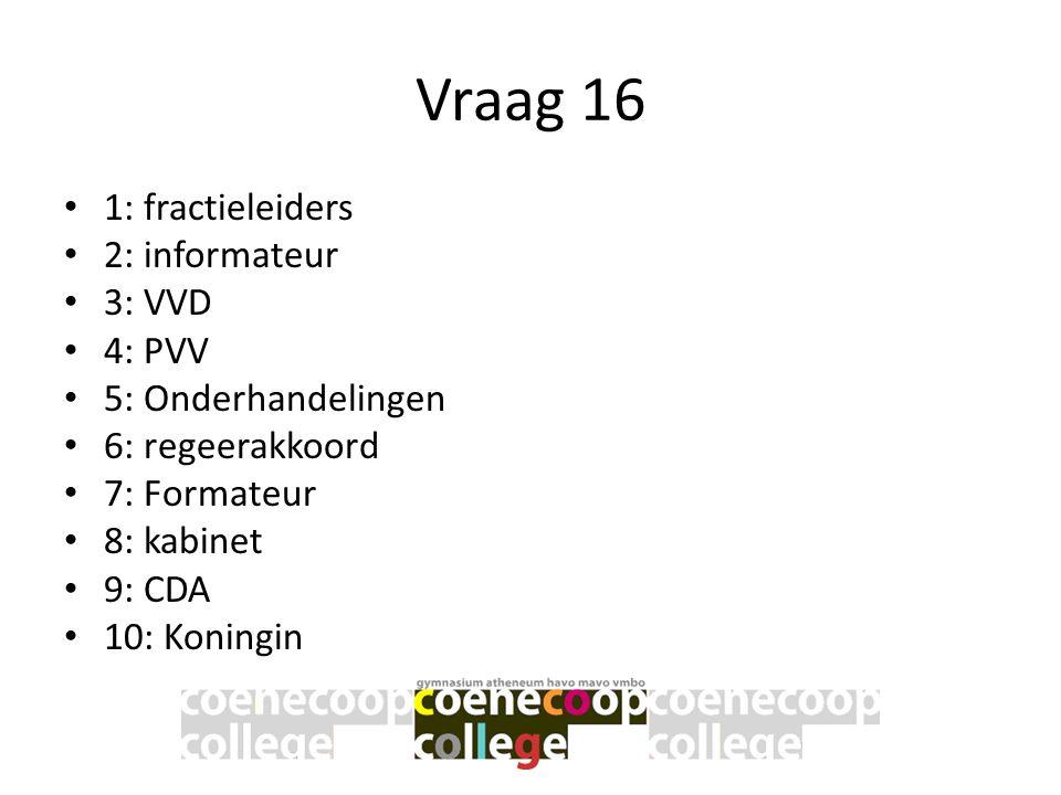 Vraag 16 1: fractieleiders 2: informateur 3: VVD 4: PVV