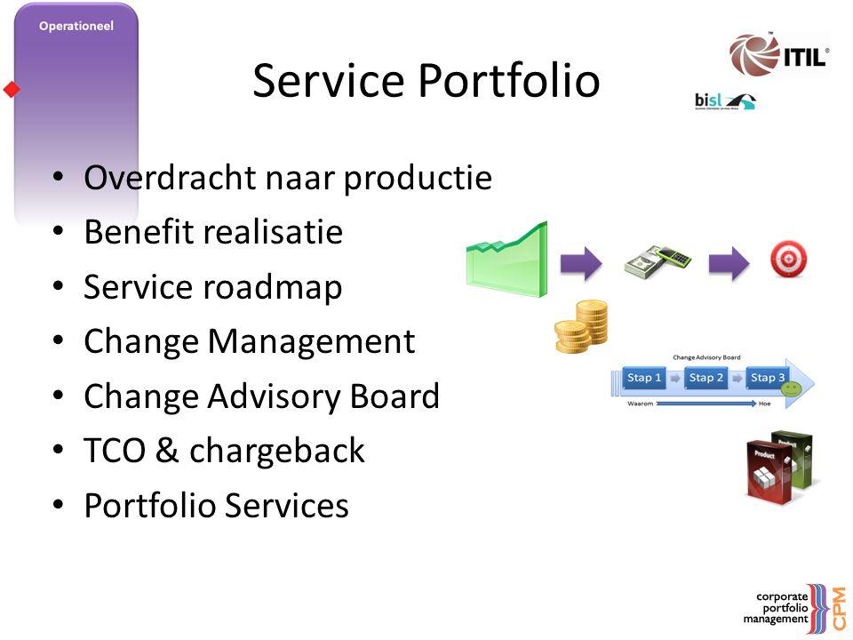 Service Portfolio Overdracht naar productie Benefit realisatie