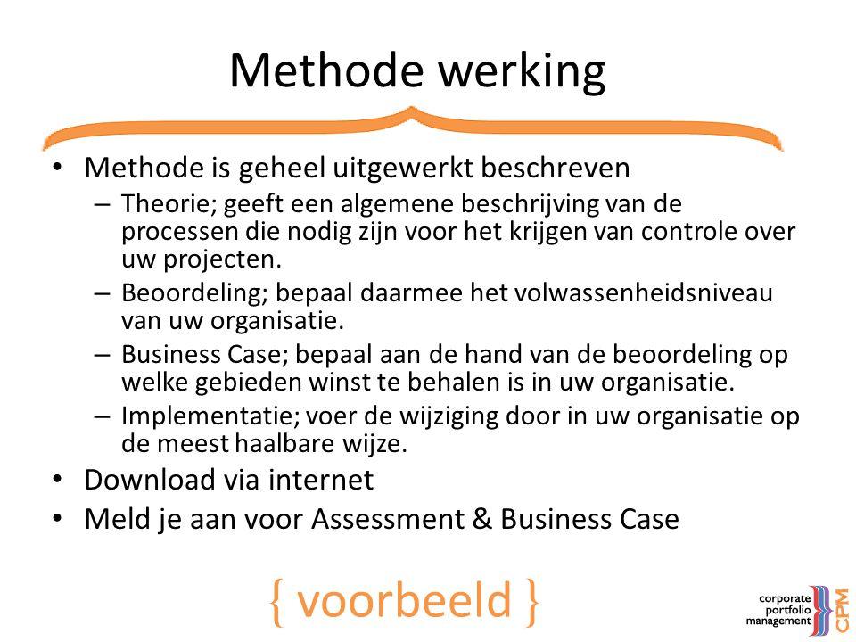 Methode werking { voorbeeld } Methode is geheel uitgewerkt beschreven