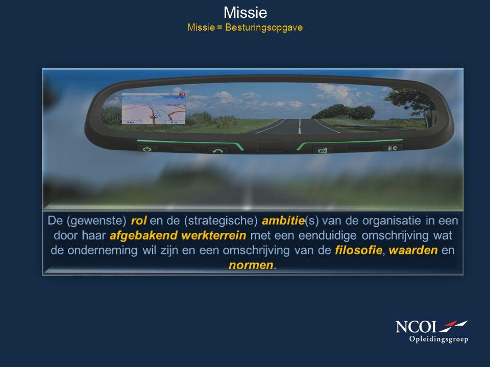 Missie Missie = Besturingsopgave