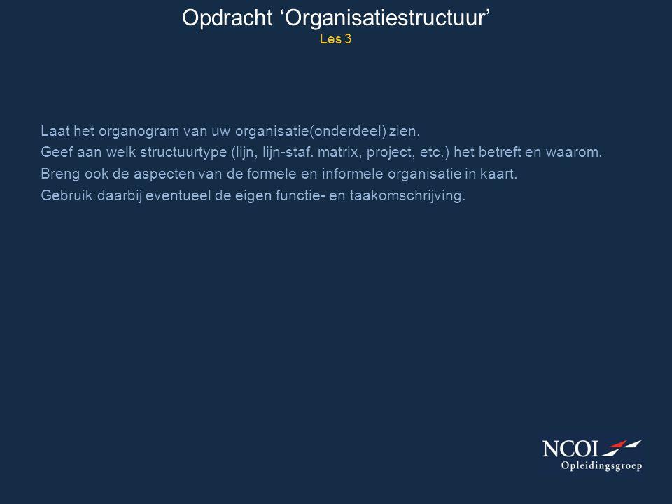 Opdracht 'Organisatiestructuur' Les 3