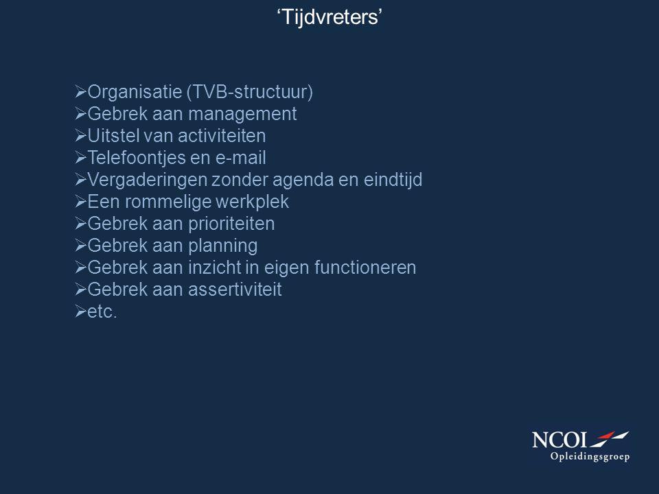 'Tijdvreters' Organisatie (TVB-structuur) Gebrek aan management