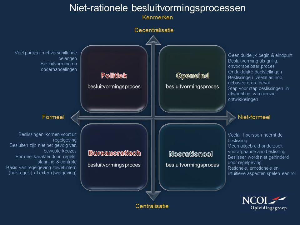 Niet-rationele besluitvormingsprocessen Kenmerken