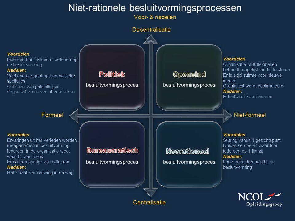 Niet-rationele besluitvormingsprocessen Voor- & nadelen